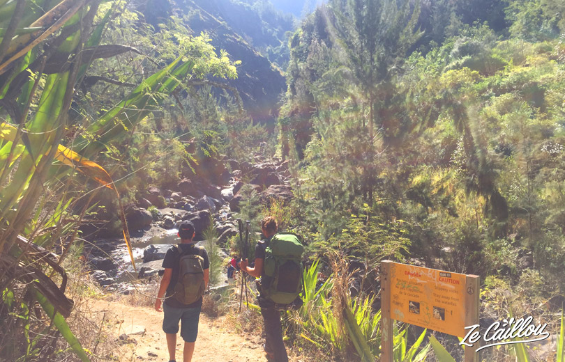 We arrive to cascade Bras Rougeduring our GRR2 Day 6, the best hike in Reunion Island.