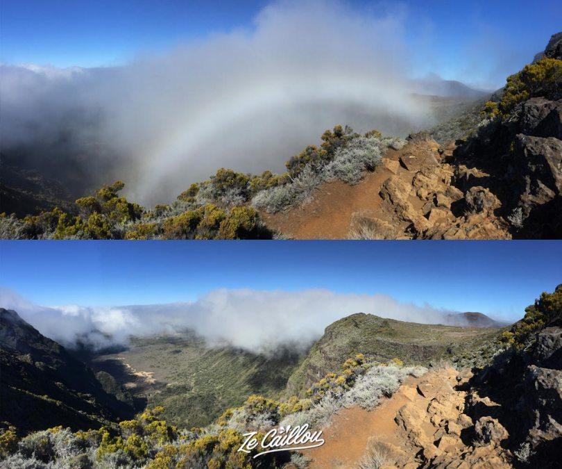 Le Plateau des Basaltes avec un arc en ciel blanc puis tout à fait découvert, vers le volcan.