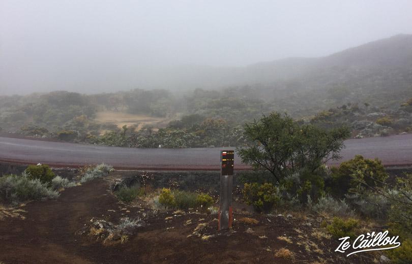 Arrivée vers le Volcan lors de notre trek du GRR2 à la Réunion.
