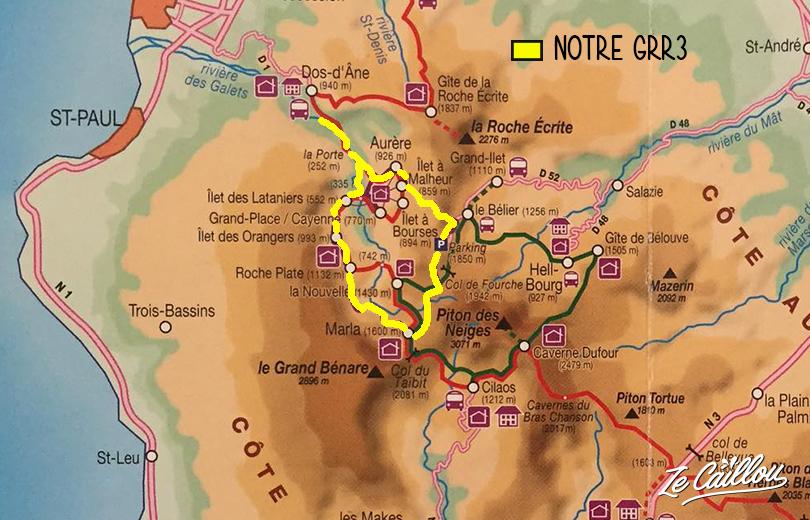 Le tracé de notre GRR3 Réunion à Mafate depuis la rivière des galets à la Possession.