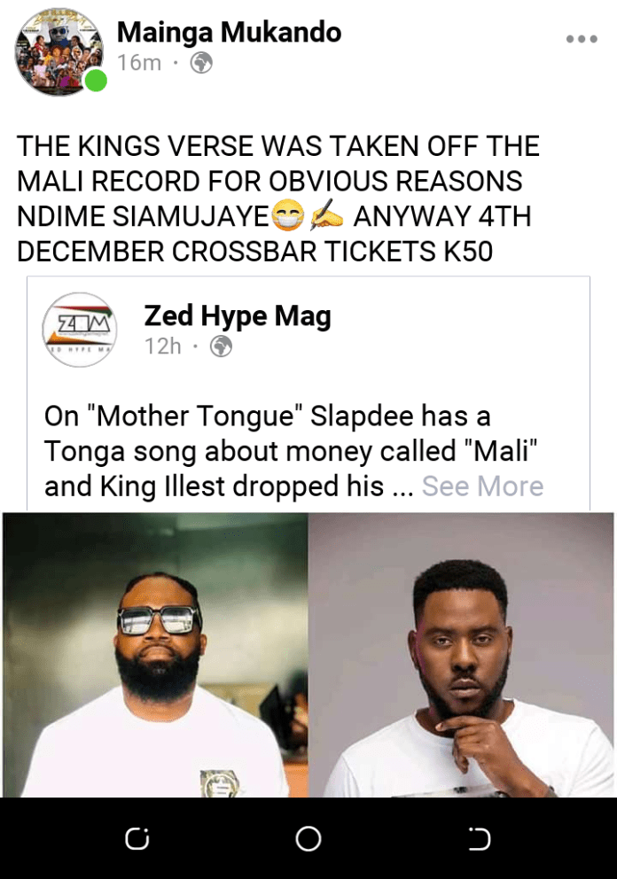 Slap Dee deleted my verse from his mali record