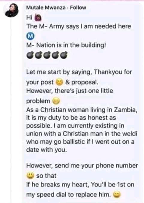 Mutale Mwanza's Response To Cinori Xo
