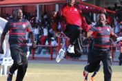 Coaches aggrey chiyangi celebrates first goal at Nkana