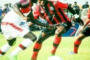 Salulani vies for the ball against Nkana
