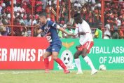 Ronald Kampamba try to reach for the ball during Nkana vs Belouizdad