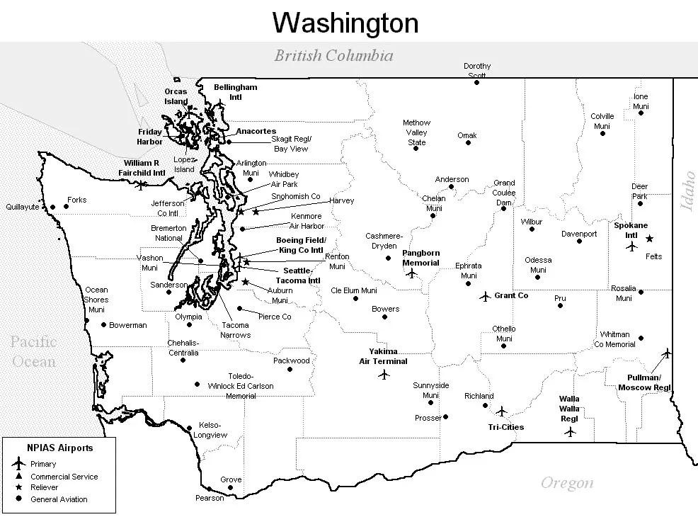 Washington Airport Map Washington Airports