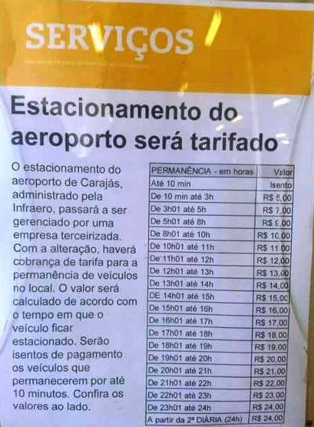 tarifa aeroporto de Carajás
