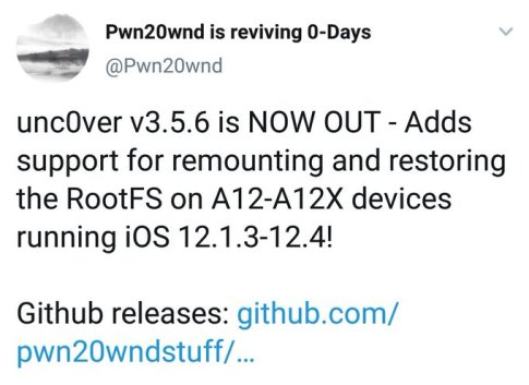 NOW OUT - unc0ver v3.5.6 is Adds support for remounting and restoring the RootFS on A12-A12X devices running iOS 12.1.3-12.4!
