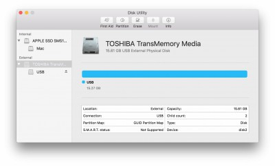 Highlight the USB drive in left column (Note: in the Mojave version of Disk Utility, you must first select View / Show All Devices before you can see the USB drive there)