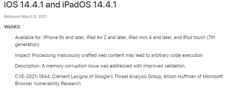 iOS and iPadOS 14.4.1 is just a security update.  It fixes a WebKit threat that was in iOS 14.4.  #iOS #iPhone #iPad