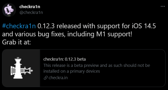 checkra1n #checkra1n 0.12.3 released with support for iOS 14.5 and various bug fixes, including M1 support!