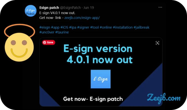 The E-sign Patch Team announced the latest version of the esign v4.0.1 released to public via twitter.  iOS 15 iPA Sideload funcitons