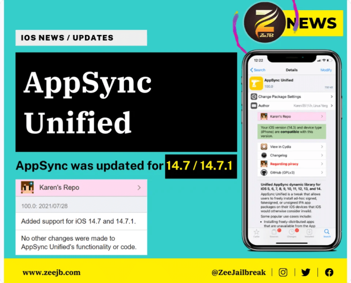 AppSync Unified 100.0 now supports iOS 14.7 and 14.7.1!  Repo URL: https://cydia.akemi.ai