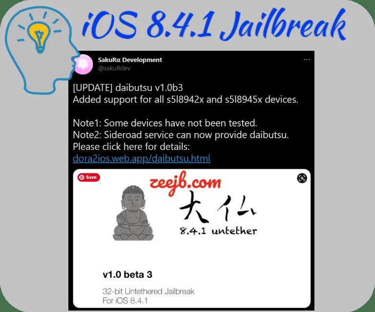 daibutsu Jailbreak A tool for untethered jailbreak: 32-bit iOS 8.4.1