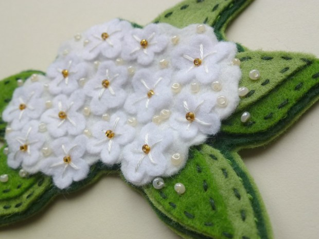 elderflower embroidered felt brooch