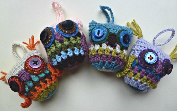 four crochet owls