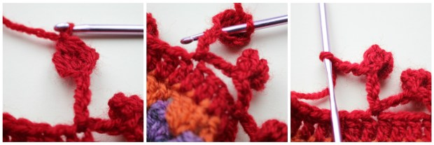 A photo tutorial for a crochet bobble edge.