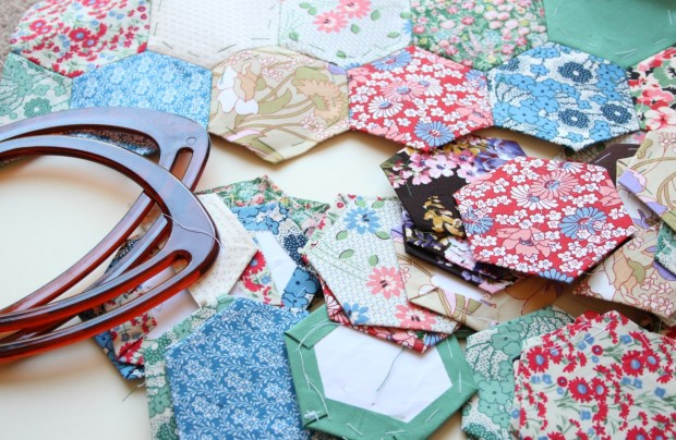 Making a patchwork bag.
