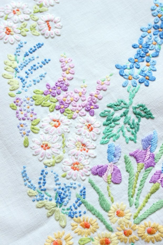 Nanna's flower embroidery.
