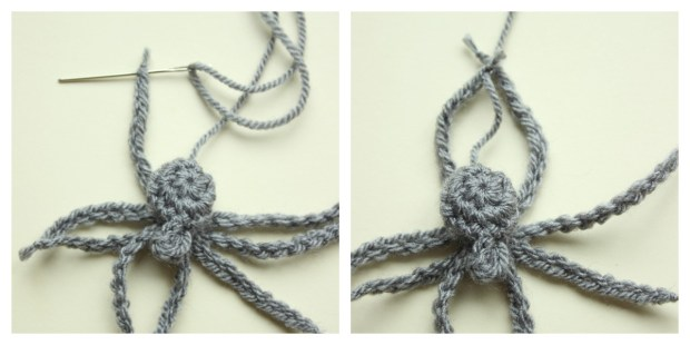 stiching-on-the-crochet-spiders-legs