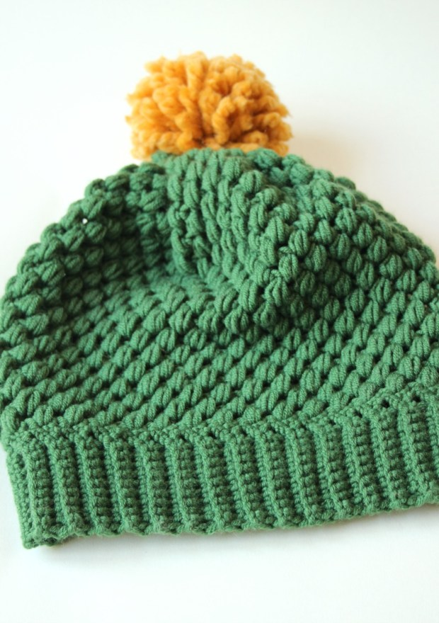 green-crochet-puff-stitch-hat