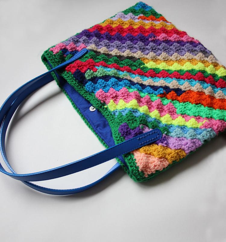 A colourful crochet purse