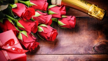 Wine Flowers and Chocolate Valentine Day Romantic Cute Love Image