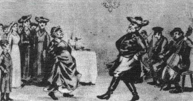 ריקוד הברוגז בחתונה יהודית.איור מהמאה ה-19.