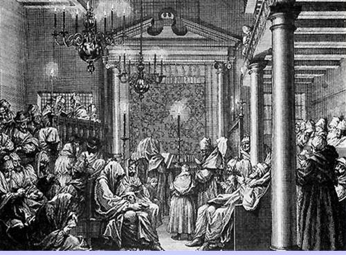 תפילת יום הכיפורים. צייר יהודי לא ידוע