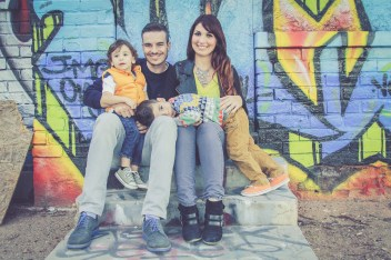 Family photos in downtown Phoenix graffiti