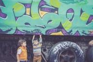 Family photos in downtown Phoenix graffiti