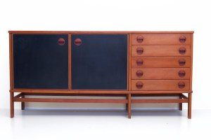 Two door Italian Sideboard in Teak and black laminate, Italy, 1960's.