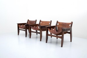"Sergio Rodriges 'Kilin"" Loungechair in solid Brazilian Hardwood and patinated dark brown Leather, Brasil, 1970's"
