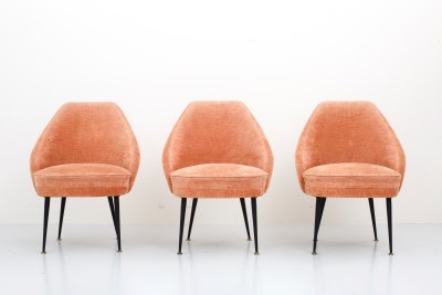 Set of three 'Campanula' Loungechairs in pink Velvet by Carlo Pagano for Arflex, Italy, 1952