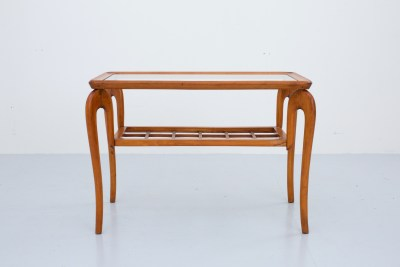 Italian Sidetable with curved legs In Walnut and  Glass , 1950's
