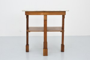 Art Deco Sidetable in Marble and Walnut