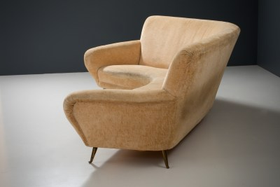 1 Sofa curved and 2 Lounge Chairs by I.S.A._Fabric and Brass_Italy_1960s5H0A4663_zeger van Olden_mid century_mid century modern_amsterdam_italian_scandinavian