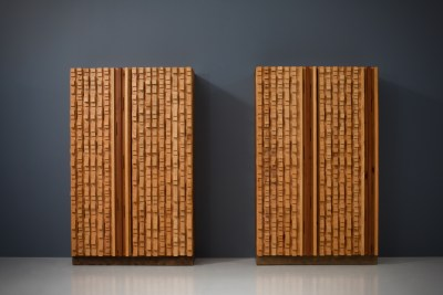 Cabinets by sculptor D'Amico_wood_signed and dated_19745H0A4816_zeger van Olden_mid century_mid century modern_amsterdam_italian_scandinavian