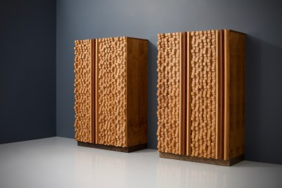Cabinets by sculptor D'Amico_wood_signed and dated_19745H0A4825_zeger van Olden_mid century_mid century modern_amsterdam_italian_scandinavian