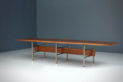 Dining Table or Conference Table_Mobiltechnica Torina_large and oval_Teak Metal_Italy_1970's5H0A4879HR3_zeger van Olden_mid century_mid century modern_amsterdam_italian_scandinavian