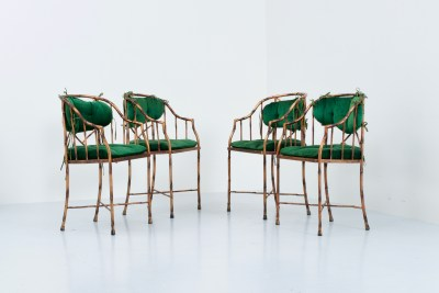 Dining Chairs_Hollywood Regency_faux Bamboo with bronzed Metal and Velvet_France_1960s5H0A2763_zeger van Olden_mid century_mid century modern_amsterdam_italian_scandinavian