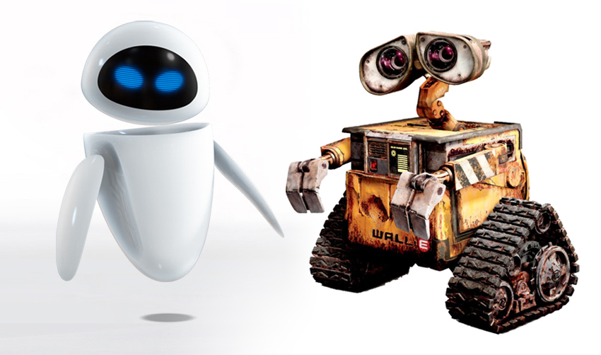 Eve & Wall-e, personnages du film Wall-e, de Pixar