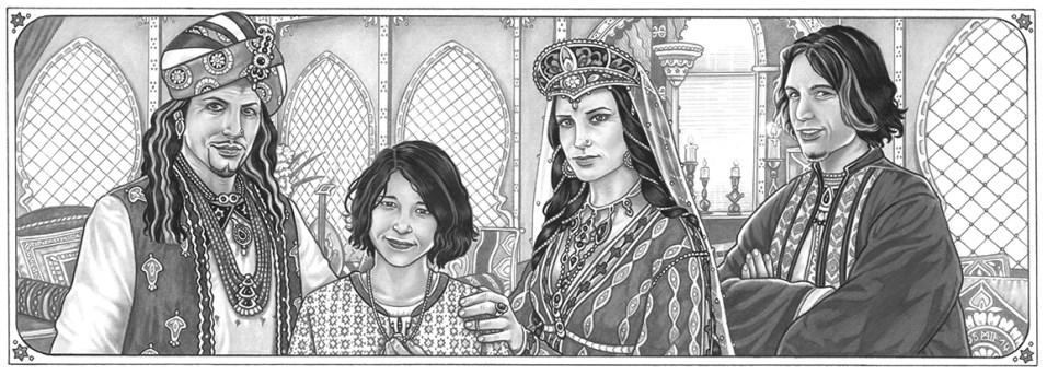 """""""Aranische Königsfamilie"""", Illustration für """"Schleierfall"""", Blei- & Filzstift, 2013"""