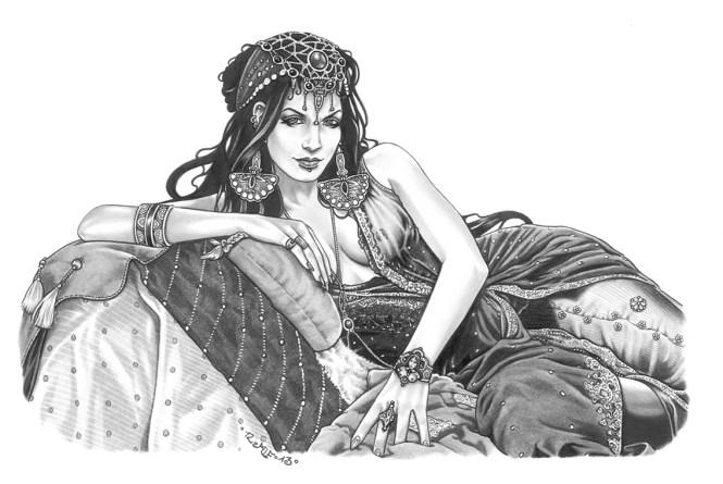 """""""Dimiona"""", Illustration für """"Schleierfall"""", Blei- & Filzstift, 2013"""
