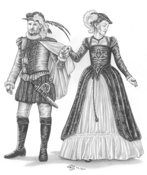 """""""Höfische Mode"""", Illustration für den Horasreich-Regionalband, Blei- & Filzstift, 2010"""