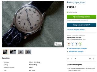Vintage Rolex 30er Jahre