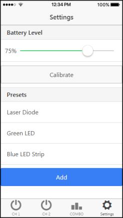 La schermata di settaggio con presets