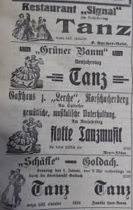 Anzeigen in der Rorschacher Zeitung vom 31. Dezember 1915