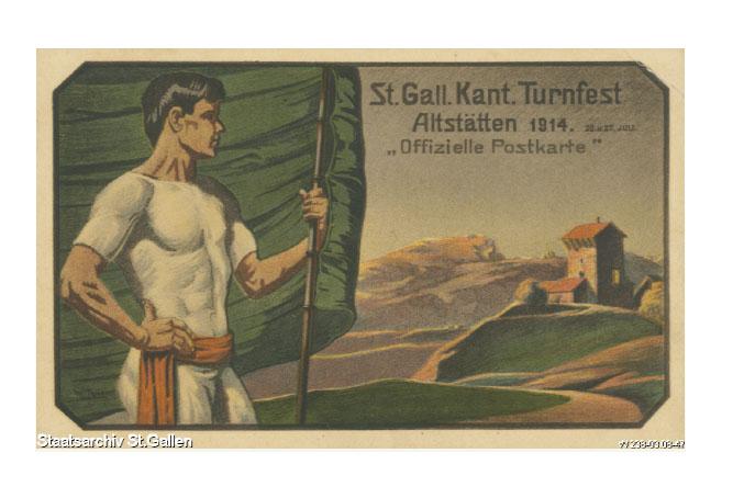 Festpostkarte vom St.Gallischen Kantonalen Turnfest 1914