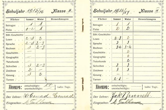 Schulgemeinde Sevelen, Zeugnis für Mathias Tischhauser, geboren 1904, Schuleintritt am 8. Mai 1911